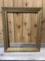 """Vintage Antique Wooden Gold Ornate Picture Frame 20x24 Overall 29x24.5"""""""