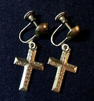 Beautiful Vintage Estate Gold Tone Dangle Drop Cross Clip Back Earrings Untested