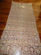 """Vtg Ecru Banquet Point De Venise Needle Lace Linen Tablecloth 64X134"""" 12 Napkins"""