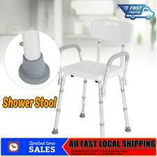 Adjustable Medical Shower Chair Bathtub Bench Bath Stool Armrest Back White AU