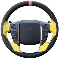 Black With Yellow Leather Car Steering Wheel Cover for Land Rover Freelander 2