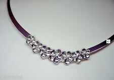 Kabana 925 Sterling Silver Seven Plumeria Flowers Necklace Choker 17""