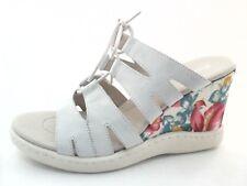 NWOB $109 BORN Floral Heel White Wedge Platform Slip on Sandals US 10 EU 41