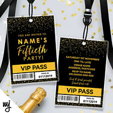 PERSONALISED 50TH BIRTHDAY VIP PASSES LANYARDS | BLACK GOLD GLITTER | ANY AGE!