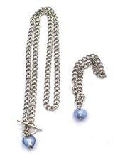 .925 STERLING SILVER Glass Heart Necklace & Bracelet Set - L11