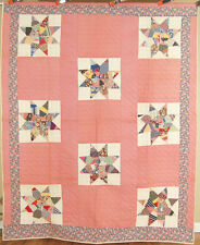 EYE CATCHING Vintage 30's Crazy Strip Stars Patchwork Antique Quilt ~MINT COND!