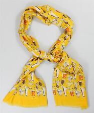 $695 New Kiton Men's Scarf Linen Viscose Yellow Orange Martini Cocktail Print