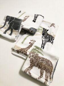 New 4pc Artisan de Luxe Hand Face cloth Towels Africa Safari Animals Savannah