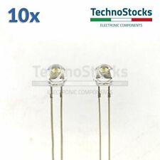 10x LED Bianco 5mm COMPATTO basso grande apertura fascio wide angle luce diffusa