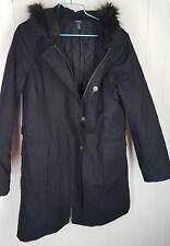 Nautica Coat size M black faux fur hood canvas zipper front Womens Jacket