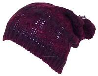 D&Y Adult Variegated Cable Knit Winter Beanie Hat W/Pom Pom, Snow, #860 Purple