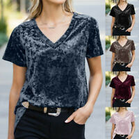 Women Velvet Patchwork Short Sleeve Sweatshirt Pullover Shirts Top Blouse