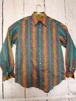 Robert Graham Men Medium Striped Floral Long Sleeve Button Down Shirt Flip Cuff
