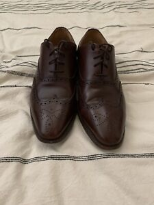 Jack Erwin Mens Brown Oxford Brogue Dress Shoes Size 10