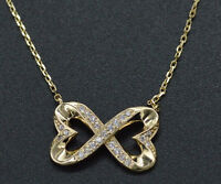 Created Diamond 0.25ct Heart Infinity Pendant 14K Yellow Solid Gold Chain
