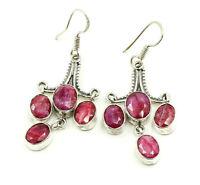 Beautiful Vintage Oval Red Kashmiri Ruby Sterling Silver 925 Dangle Earrings