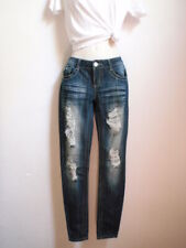 Sale! Womens Jrs Sz 3 Jeans Almost Famous Distressed Rip Stretch Slim Fit Skinny