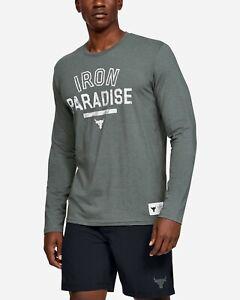 Men's Under Armour Project Rock Iron Paradise Long Sleeve Gray Shirt size Large