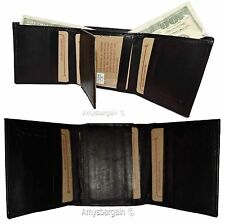 Lot of 2.Men's Genuine Leather Tri-fold wallet.10 card center piece men's Wallet