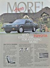 Toyota Cressida 4 Door Luxury Sedan Black Technics 1986 Vintage Print Ad 80s