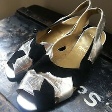 bbccbaddb4b6 Silver + Velvet Womens Mule Low Heel Slingback Handmade Spanish Leather 80s  UK4