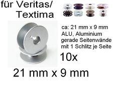 Spulen ALU für viele Veritas/ Textima, mit Schlitz, 21x9 mm; 10 Stück
