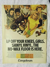 1970 Magazine Advertisement Page For Congoleum Shinyl Vinyl Floor Covering Ad