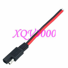 2pcs SAE 2 Pole Flat Plug 12V 14AWG 15CM Extension cable DC Power Automotive