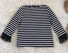 NEW J.CREW TULLE CUFFED STRIPE T-SHIRT Top Size M Black/Ivory F8916 SOLD OUT!