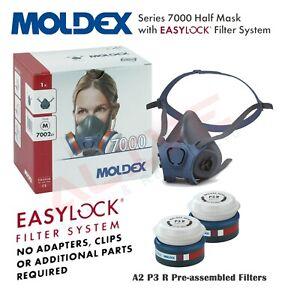 MOLDEX 7002 Reusable Half Mask Respirator + 9230 A2P3 R Particulate Gas Filters