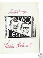 Leslie Sarony Leslie Holmes The Two Leslie's Hand signed card 4 x 3