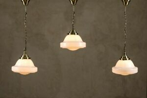 SCHOOLHOUSE PENDANT LIGHT OPALINE SHADE MILK GLASS BRASS OR CHROME FITTING