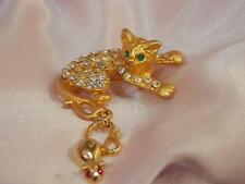 XX Cute Vintage 1980's Sparkly Rhinestone Cat w Mouse Dangle Brooch   1135L