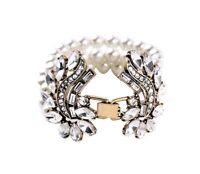 Vintage Pearl Crystal Rhinestone Chunky Gold Designer Floral Art Deco Bracelet