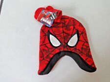 TODDLER BOYS SPIDER-MAN KNIT HAT AND MITTENS SIZE 2T TO 5T