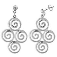 Ancient Greek Sterling Silver Earrings - Cluster of Four Swirl Motif (40mm)
