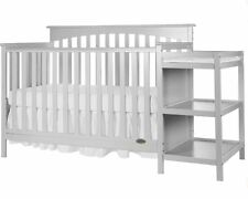 Baby Crib with Changing Table Set Gray Infant Nursery Furniture Wood Toddler Bed