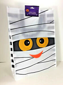 NEW Spooky Monster MUMMY WHITE Reusable TOTE Halloween Candy Treat GIFT BAG