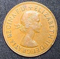 1962 UK Great Britain One British 1 Penny Queen Elizabeth II A128 Bronze (311)