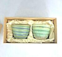 Glazed Asian Bowls Chungli Business Set of 2 Hotel Blue Green New In Box Pretty