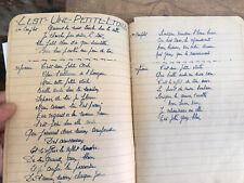 CARNET cahier 50 page manuscrit de chanson 1930