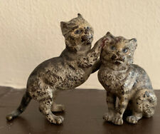 Antique Austrian Vienna Cold Painted Bronze Match 00004000 ing Cats - Signed