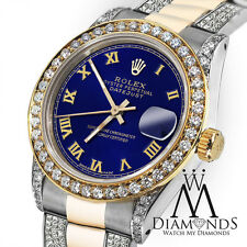 Women's 31mm Rolex Oyster Perpetual Datejust Custom Diamonds Tone Blue Roman