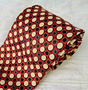 NWOT BRIONI Hand Made in Italy 100% Silk Tie Red + Beige Black Dots Circles XL