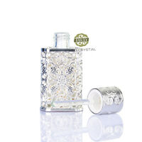 Vintage Hollow Out Metal Cut Glass Perfume Bottle Empty Stopper Wedding Gift 2ml