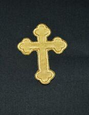 patch,christain cross, croix chrétienne,croix laic,satin doré ,;6/4.5cm,