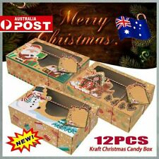 12 PCS Christmas Candy Cookie Boxes Bakery Gift Boxes Cupcake Muffin Cake Box JJ