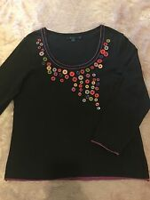 Boden Size 20 US size 16 plus size Buttons 3/4 sleeve top Ladies