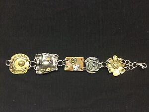 Sherry Tinsman Mixed Metal Sterling Silver Copper Brass Gemstone Bracelet Signed