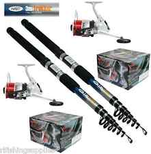 2 X NGT 10FT TELESCOPIC FISHING RODS TREKKER + 2 X SILK 70 SEA FISHING REELS